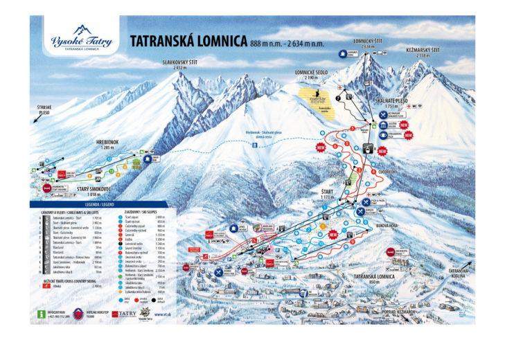 Pistenplan Skigebiet Tatranská Lomnica
