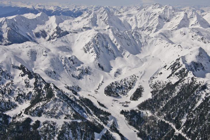 Luftaufnahme der Pisten am Speikboden.
