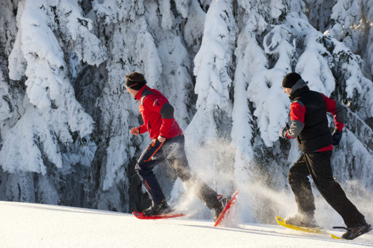 Als Abwechslung zum Skifahren: Schneeschuhwandern.