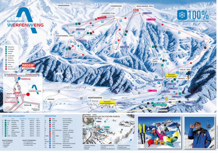 Pistenplan Skigebiet Werfenweng.
