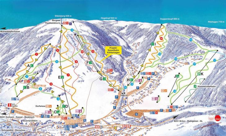 Pistenplan Skigebiet Willingen.