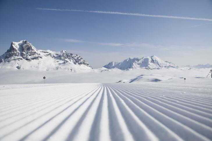 Skigebiet Warth-Schröcken: Die Pisten sind am morgen perfekt präpariert.