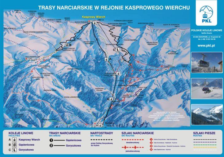 Pistenplan Skigebiet Kasprowy Wierch.