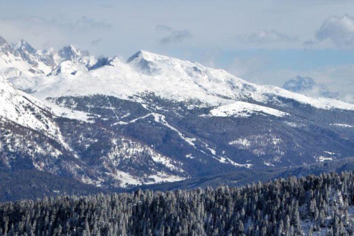 Blick vom Skigebiet Alpe Lusia-San Pellegrino.