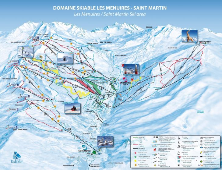 Pistenplan Skigebiet Les Menuires-Saint Martin.