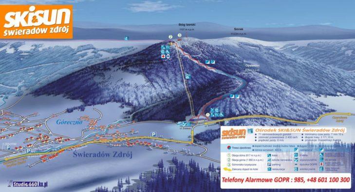 Pistenplan Skigebiet SKI & SUN Świeradów-Zdrój.