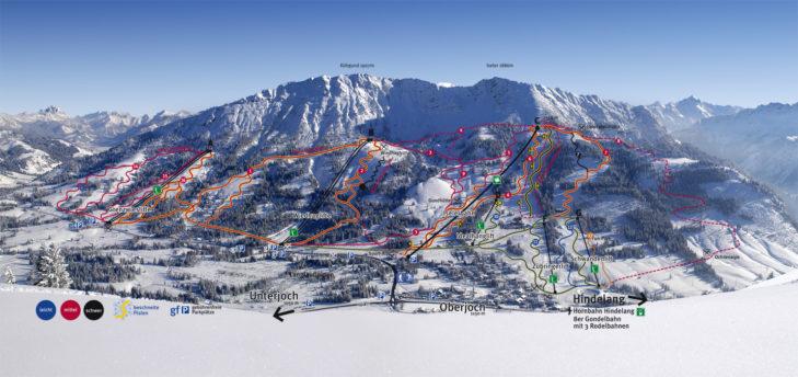 Pistenplan Skigebiet Oberjoch/Bad Hindelang.