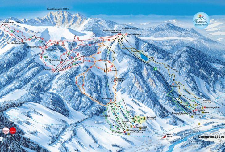 Pistenplan Skigebiet Brauneck-Wegscheid