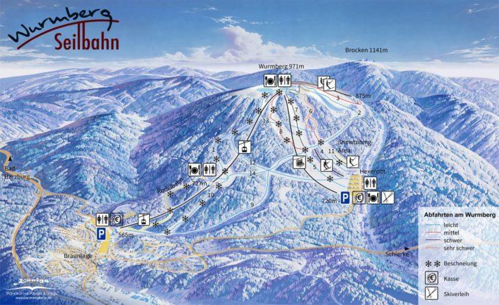 Pistenplan Skigebiet Braunlage Wurmberg