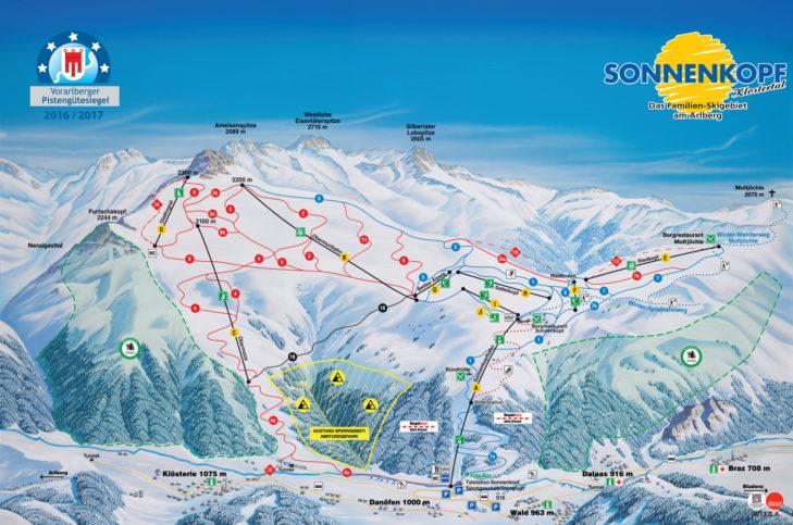 Pistenplan Skigebiet Sonnenkopf.