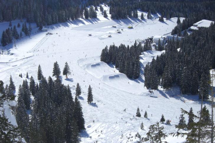 Kickerline des Snowparks an der Ehrwalder Alm.
