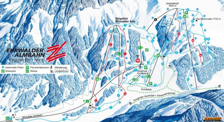 Pistenplan Skigebiet Ehrwalder Alm