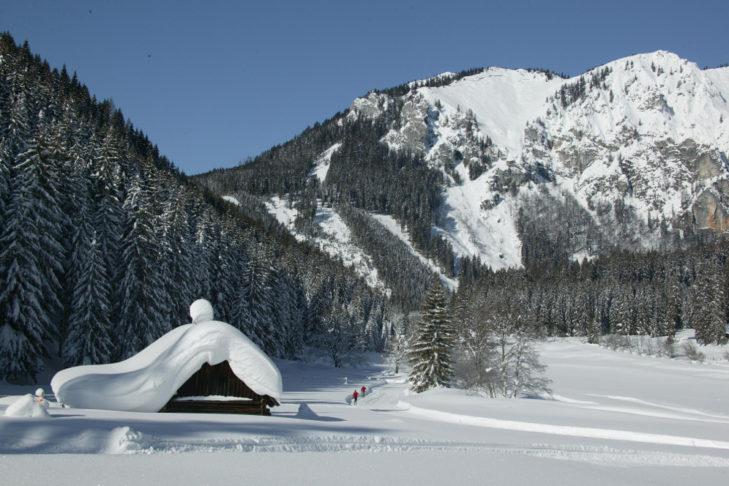Langläufer im tiefverschneiten Talgrund.