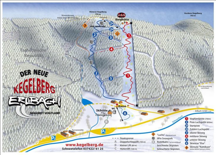 Pistenplan Skigebiet Erlbach-Kegelberg