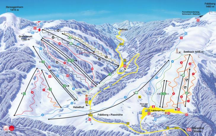Pistenplan Skigebiet Seebuck-Grafenmatt-Fahl (Feldberg)
