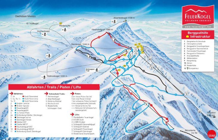 Pistenplan Skigebiet Feuerkogel.