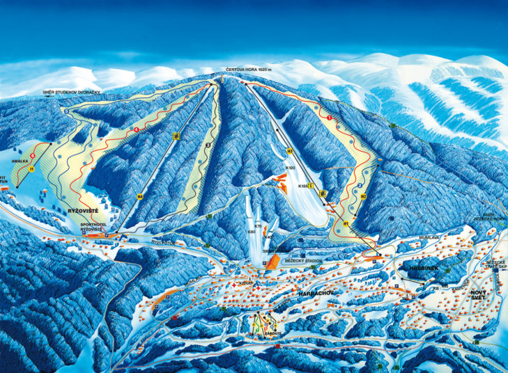 Pistenplan Skigebiet Sportareal Harrachov.