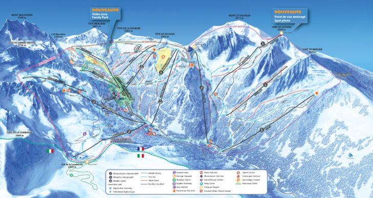 Pistenplan Skigebiet Isola 2000.