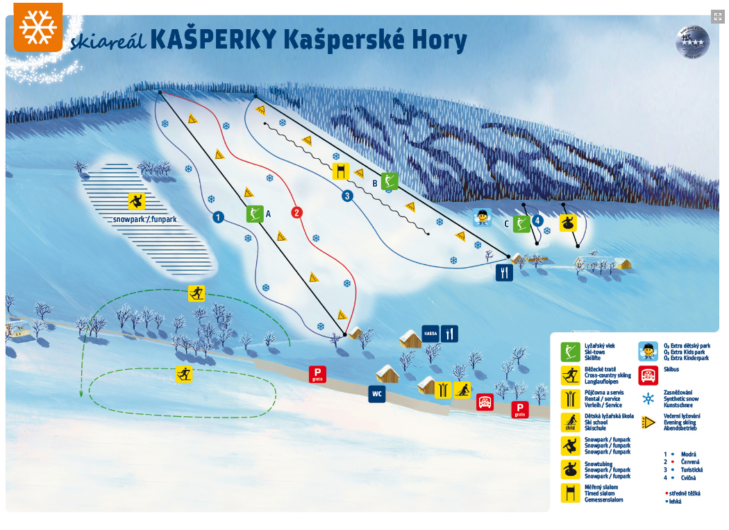Pistenplan Skigebiet Kašperské Hory