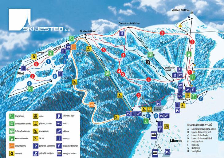 Pistenplan Skigebiet Ještěd.