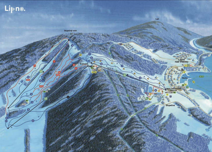 Pistenplan Skiareal Lipno