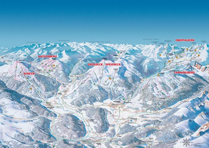Pistenplan Skigebiet Skiregion Oberlungau.