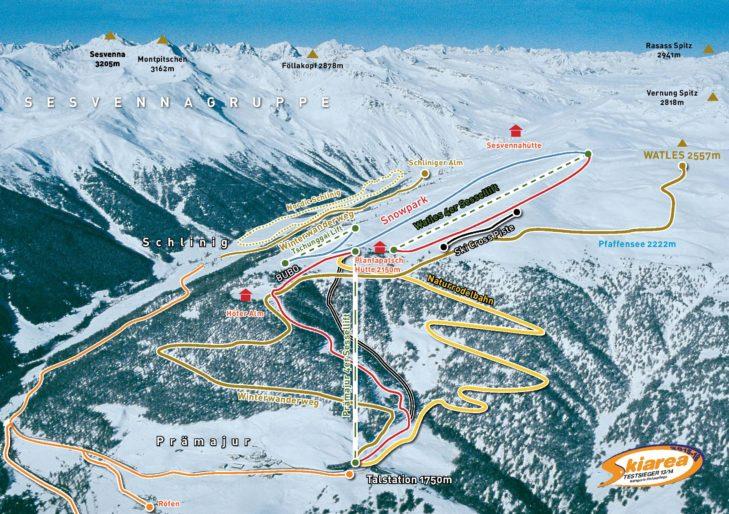 Pistenplan Skigebiet Watles.
