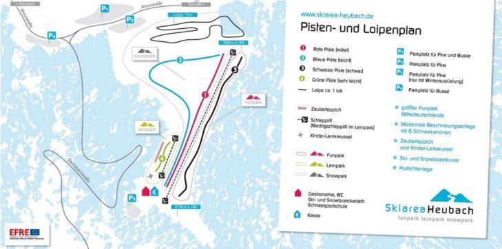 Pistenplan Skigebiet Skiarea Heubach.