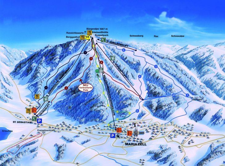 Pistenplan Skigebiet Mariazeller Bürgeralpe.