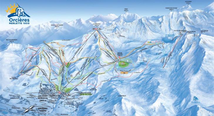 Pistenplan Skigebiet Orcières.