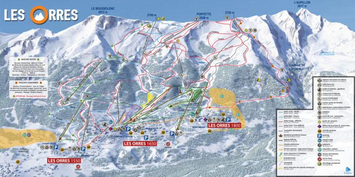 Pistenplan Skigebiet Les Orres.