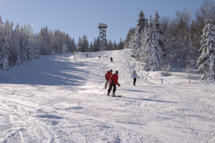 Skifahrer auf der Waldabfahrt im Skigebiet Oberfrauenwald.