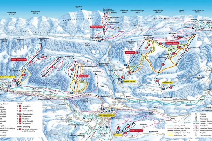 Pistenplan Skigebiet Oberstaufen