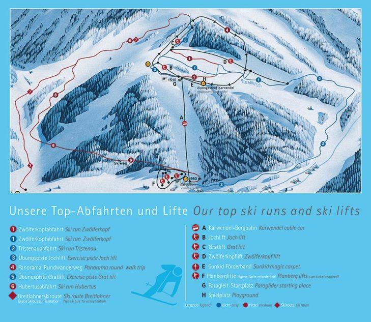 Pistenplan Skigebiet Zwölferkopf.