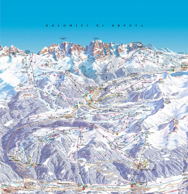 Pistenplan Skigebiet Pinzolo.