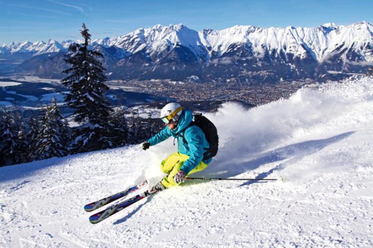 Skigebiet Patscherkofel: Skifahren vor dem traumhaften Panorama des Inntals.