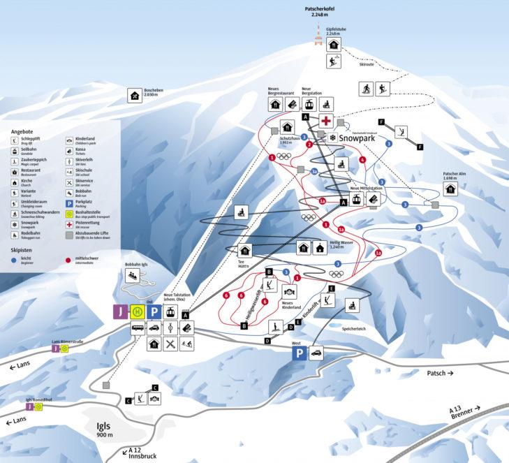 Pistenplan Skigebiet Patscherkofel