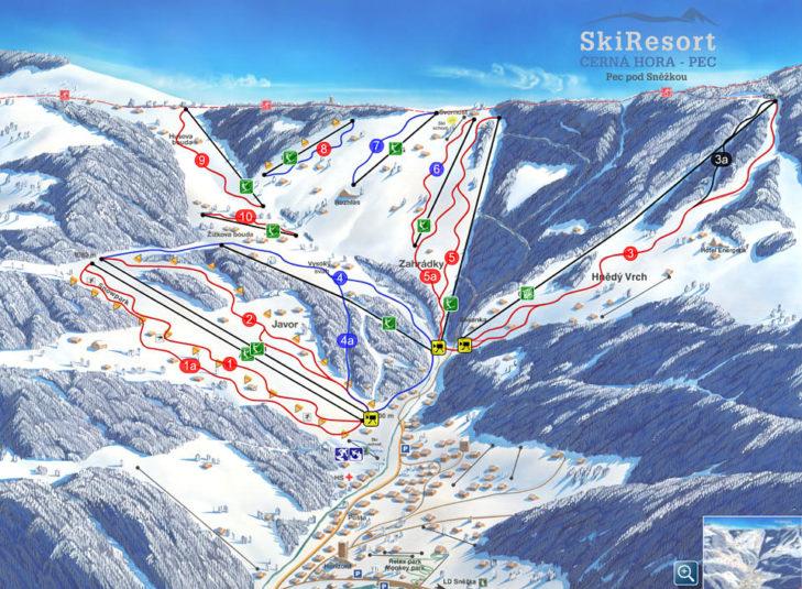 Pistenplan Skigebiet Pec pod Snezkou