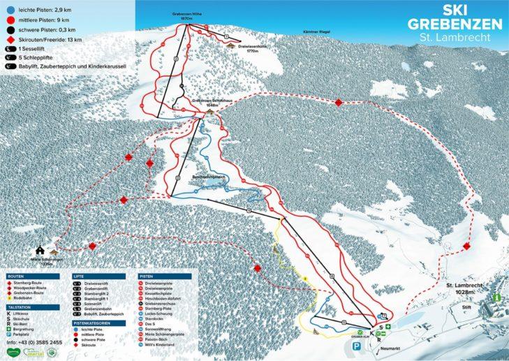 Pistenplan Skigebiet Grebenzen.