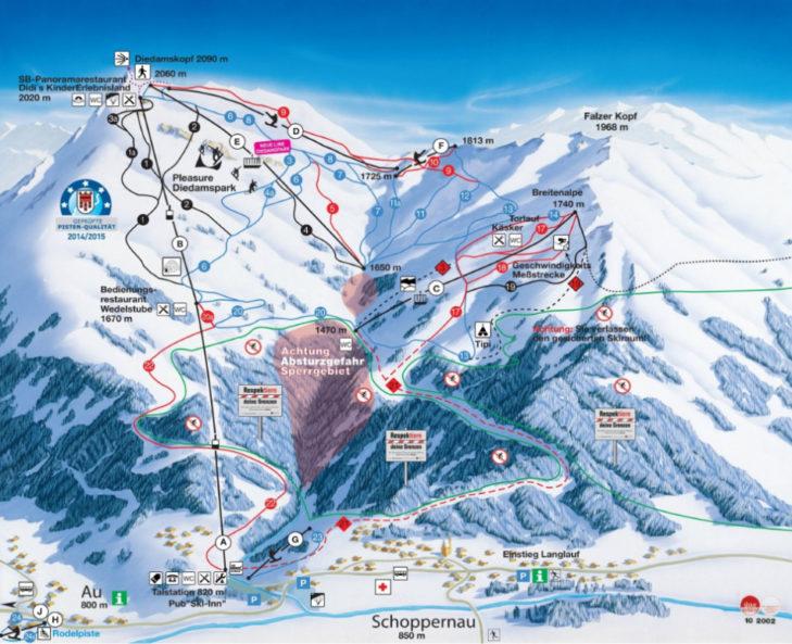 Pistenplan Skigebiet Diedamskopf