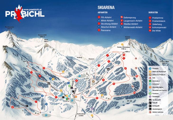 Pistenplan Skigebiet Präbichl
