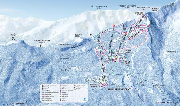 Pistenplan Skigebiet Puy Saint Vincent