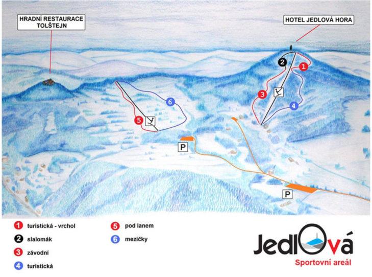 Pistenplan Skigebiet Jedlová.
