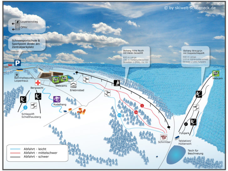 Pistenplan Skigebiet Skiwelt Schöneck.