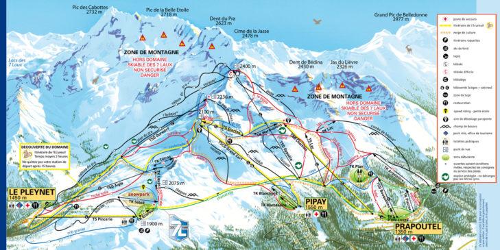 Pistenplan Skigebiet Les 7 Laux.
