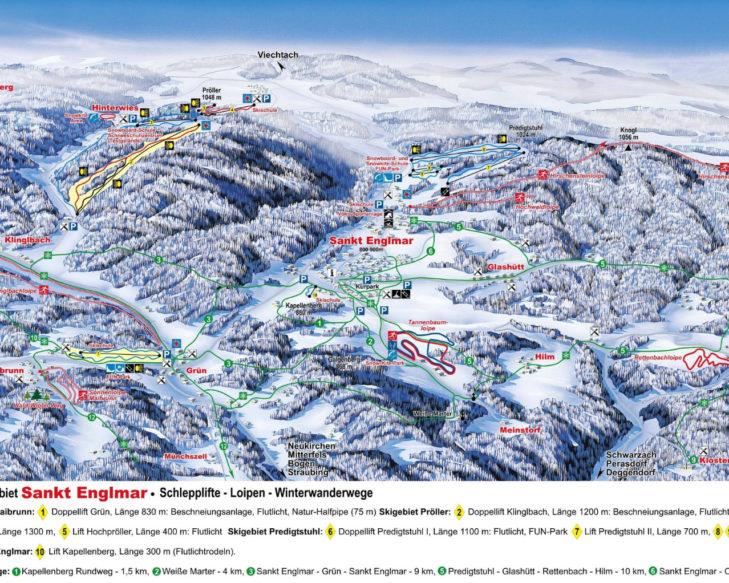 Pistenplan Skigebiet St. Englmar.