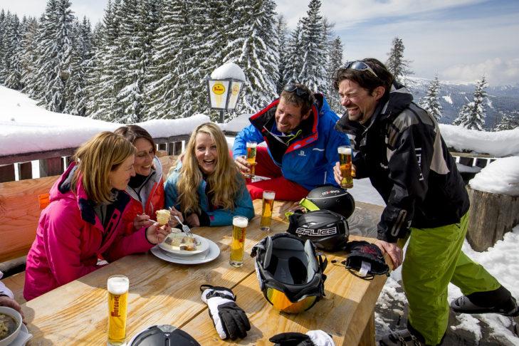 Einkehrschwung im Skigebiet Grebenzen.