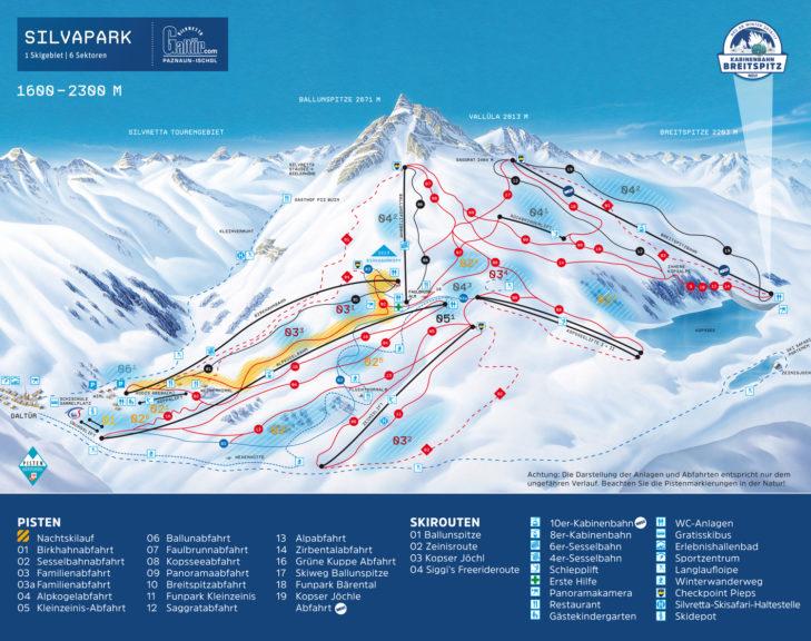 Pistenplan Skigebiet Silvapark