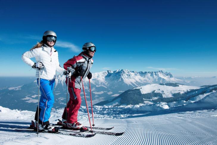 Skigebiet Tirolina: Panoramablick über das Kufsteinerland von der Piste.