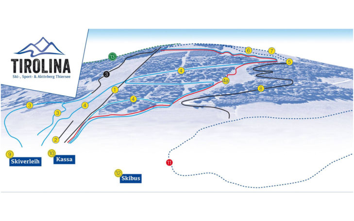 Pistenplan Skigebiet Tirolina